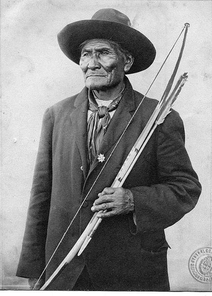 Portrait of Apache chief Geronimo with his bow and arrow.
