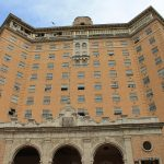 A frontal view of the Baker Hotel.