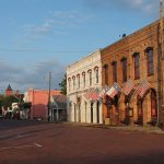 View of an empty street in downtown Jefferson, Texas.